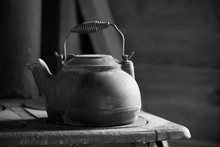Old Cast Iron Kettle For A Wood Burning Stove