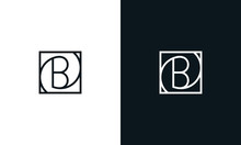 Minimalist Line Art Letter B Block Logo. This Logo Icon Incorporate With Letter B And Rectangle Shape In The Creative Way.