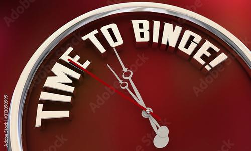 Fotografie, Tablou Time to Binge Watch TV Programs Eat Food Clock 3d Illustration