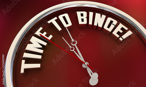 Time to Binge Watch TV Programs Eat Food Clock 3d Illustration Fototapet