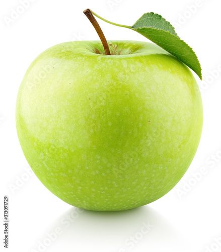 Fototapeta Single green apple fruit with green leaf isolated on white background. Granny smith apple with clipping path. Full Depth of Field obraz