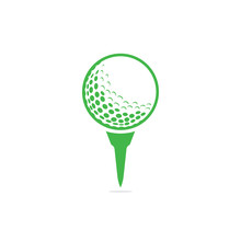 Golf Ball On Tee Logo Isolated On White Background .
