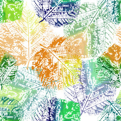 Fototapeta Do sypialni Pattern seamless, background with stamp green blue orange yellow linden leaves, foliage, leaf watercolor, spring, illustration, for postcard, greeting card, invitation, wallpaper, textile
