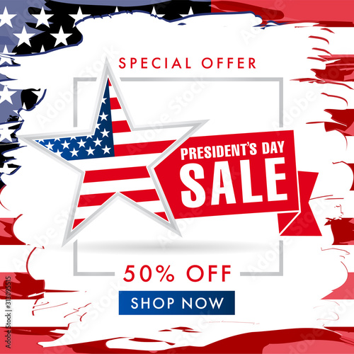 Presidents day USA brush paint sale banner. Special offer -50 off discount for President`s Day, vector illustration Wall mural