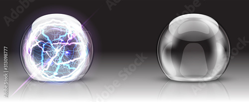 Obraz Glass dome, electric ball or sphere realistic vector. Glass round dome, empty crystal globe, transparent container or presentation case with lightning, reflection, illustration isolated on background - fototapety do salonu