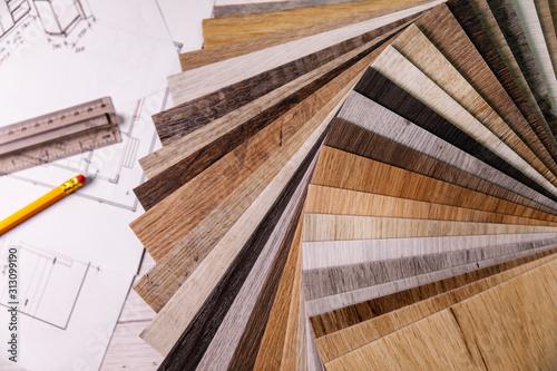 Fototapeta wood texture furniture laminate material samples and interior design plans obraz na płótnie