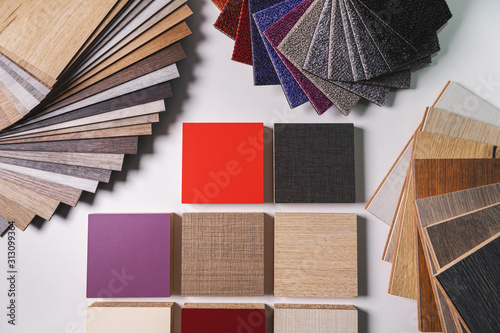 Obraz variety of furniture and flooring material design samples - fototapety do salonu