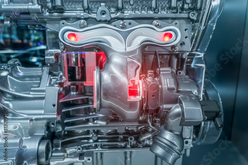 Fotomural  Modern powerful car engine section