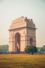 """India Gate Is A War Memorial Located Astride The Rajpath, On The Eastern Edge Of The """"ceremonial Axis"""" Of New Delhi, India, Formerly Called Kingsway."""