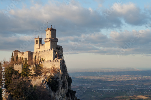 San Marino city view. Beautiful castle on the rock and and the surrounding lands. San Marino landmark. Italy.