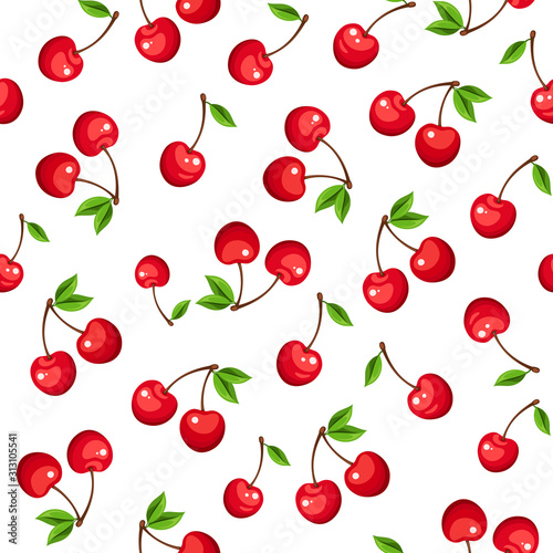 obraz PCV Vector seamless pattern with red cherry berries on a white background.