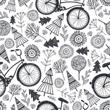 Vector Bicycle Seamless Pattern With Trees, Florals, Flowers. Black And White