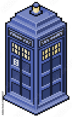 Pixel art english phone booth doctor who game 8bit Fototapet