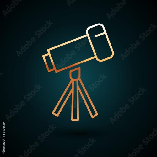 Fototapeta Gold line Telescope icon isolated on dark blue background