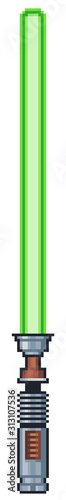 Photo Pixel art lightsaber game icon 8bit transparent background