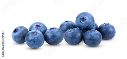 Fresh blueberry  isolated on white background Tableau sur Toile