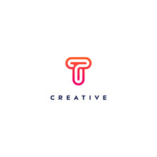 Creative Logo Letter T With A Gradient Color