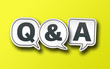 canvas print picture - speech bubbles with Q and A, Q&A on solid yellow background, frequently asked questions or questions and answers concept