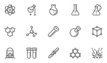 Chemistry Vector Line Icons Set. Laboratory, Flask, Experiment, Research, Scientific Equipment. Editable Stroke. 48x48 Pixel Perfect.