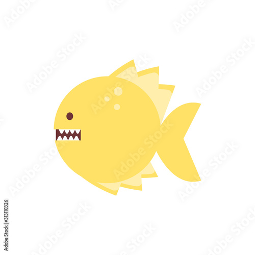 Fotografie, Tablou  Isolated piranha fish animal vector design