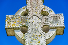 Old Stone Celtic Cross On A Br...