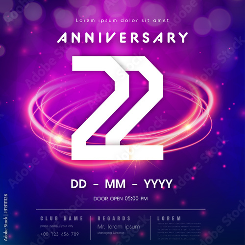 Tela  22 years anniversary logo template on purple Abstract futuristic space background