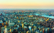 Aerial panoramic view on East Village in Downtown, New York city, NYC, USA, Williamsburg Bridge, Brooklyn. East River. Manhattan skyline. American architecture building. Panorama of Metropolis