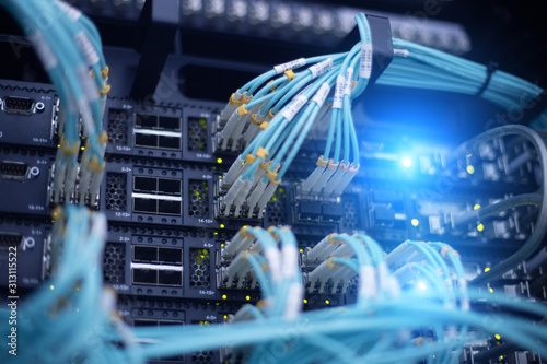Cuadros en Lienzo  Telecommunication optical rack in the data center