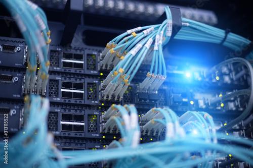 Foto Telecommunication optical rack in the data center
