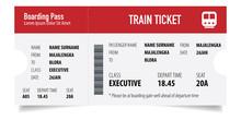 Creative Train Ticket Concept Design. Modern Train Ticket