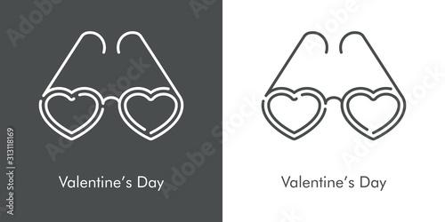 Día de san Valentín. Icono plano lineal gafas de sol con corazones en fondo gris y fondo blanco