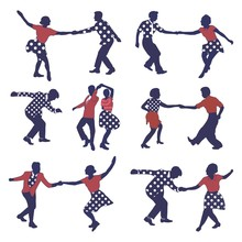 Set Retro Colored Dancing People In A Retro Swing Isolated. People In 40s Or 50s Style Dancing Rockabilly,charleston,jazz,lindy Hop Or Boogie Woogie.Vector Stock Human Vintage Illustration.Retro Jazz.