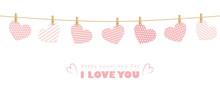 Pink Pattern Hanging Hearts Greeting Card For Valentines Day Vector Illustration EPS10