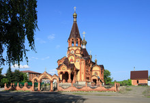 Rural Brick Church Of The Great Martyr Catherine In The Village Of Srostki Altai Territory In Russia