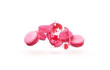 French Macaroons. Pieces Of Pink Cookie On A White Background. Colorful Pink Macaroons.