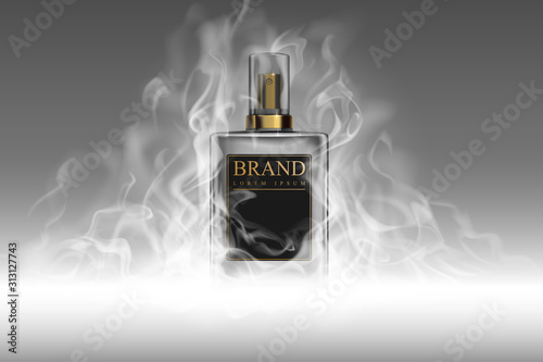 Fototapeta Realistic perfume bottle with smoke template obraz