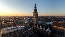 GRONINGEN - NETHERLANDS, December 30, 2019: Nice View Over The City Groningen. Martini Toren En The Stadhuis
