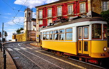 Lisbon Portugal. Yellow Vintag...