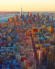 Panel Szklany Nowy York Aerial panoramic view to Downtown Manhattan and Lower Manhattan New York, USA. Skyline with skyscrapers. New Jersey City. American architecture building. Panorama of Metropolis NYC