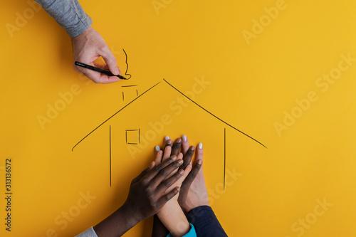 Fototapeta Conceptual image of family and adoption obraz
