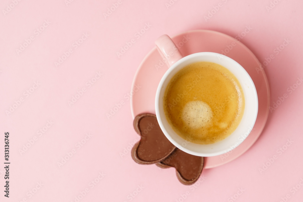 Fototapeta coffee with chocolate hearts
