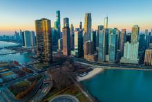 Chicago Skyline Sunrise Aerial...