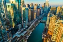 Chicago Skyline River Sunrise ...