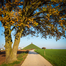 Famous Lion's Mound (Butte Du Lion) Monument In Waterloo, Framed By A Tree In Autumn Colors