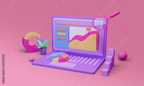 Fotografija Data analysis, information researching. 3d render