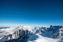 Beautiful Panoramic Scenery View Of Europe Alps Landscape From The Aiguille Du Midi Chamonix France