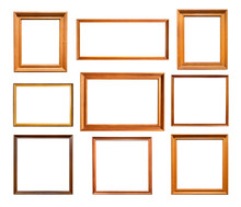 Nine Various Simple Wooden Picture Frames Cutout