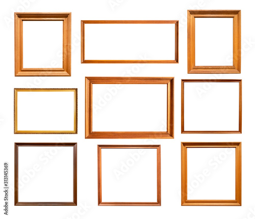 Fototapeta nine various simple wooden picture frames cutout obraz na płótnie