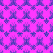 canvas print picture - pink seamless pattern with blue butterfly dragonfly. Endless print with different insects and flowers for wrapping paper, fabric print, web page backdrop, car