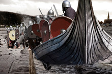 Viking Invasion Of The Scottish Town Of Largs. Contemporary Staging Of The Battle Of Largs Which Was A Decisive Engagement Between The Kingdoms Of Norway And Scotland